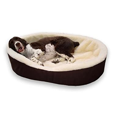 Dog Bed King USA Cuddler. XX-Large Brown/Imitation Lambswool. Fits Pets Up To 120 Lbs. USA Made. Size: 42x27x7 . Removable Machine Washable Cover