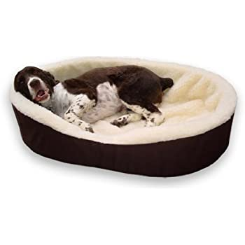 """American Made X-Large Dog Bed King USA Cuddler. Brown/Imitation Lambswool. Size: 40x28x7"""" Removable Washable Cover."""