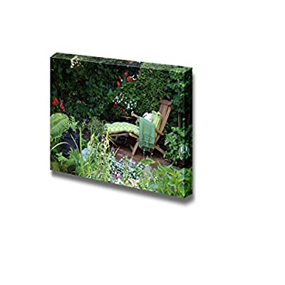 Canvas Prints Wall Art - Comfortable Lounge Chair in a Small Garden. Also Available in Vertical. - 16