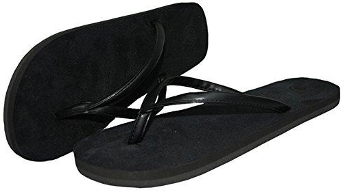 Difyou Mens Rem Platta Halkskydd Strand Sandaler Flip Flops För Par Svarta