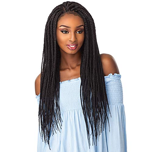 Sensationnel 100% Premium Fiber Cloud9 Swiss 4X4 Lace Parting Wig Large Size - BOX BRAID LARGE (1B [Off Black])