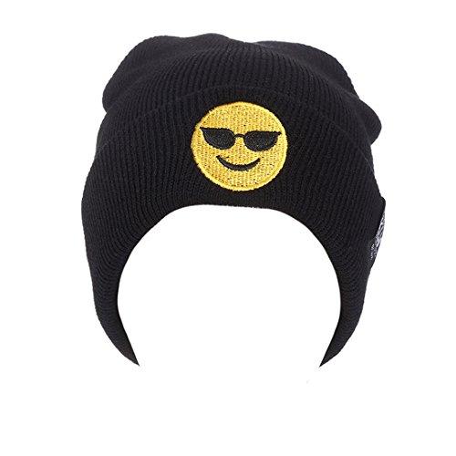 Tricot Noir Rebord Chapeau Chaud Emoji Brodé Bonnet Orgueil Hiver Unisexe Acvip Outdoor ZqUwx7TR