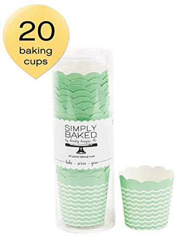 Simply Baked Petite Paper Baking Cups Mint Wave 20-Pack Disposable and Oven-safe -
