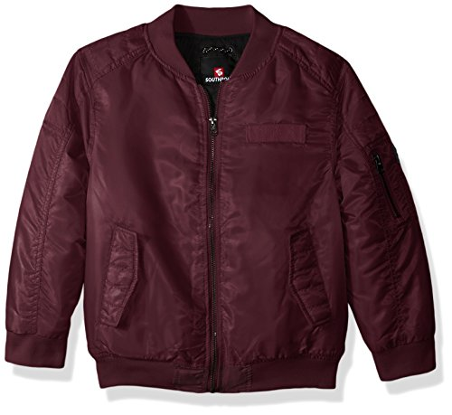 Southpole Little Boys' Kids MA-1 Bomber Flight Jacket With Biker Detail, Burgundy, Medium - Classic Tall Bomber