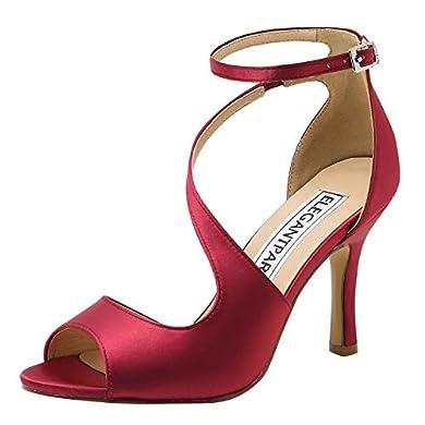 ElegantPark - Zapatos de tacón punta abierta color borgoña