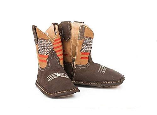 Roper Infant Baby Boys Girls Size 4 (9-12 Months) American Flag Stars Vamp Leather Velro Cowboy Boots ()