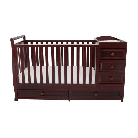 3-in-1 Crib & Changer Combo Cherry Color,Toddler Bed DayBed,Full-Size Bed,Made of Sturdy Solid Wood,Fixed-side Crib,Baby Furniture,Open Storage,Three Drawers,Baby Crib,BONUS - 3 Drawer Combo Changer