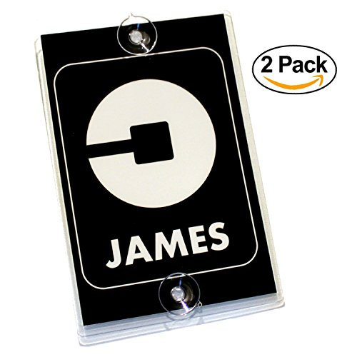 Personalized UBER Removable Suction Cup Display Cards - Pack of 2 Placard Decals for Front & Back Windshield - Perfect Accessory Signs for Uber Rideshare Drivers (New Logo) - Placard Decal