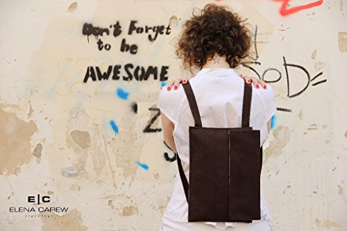 Brown Vegan Women's Backpack Purse Casual Lightweight Backpacks by E|C Vegan Bags