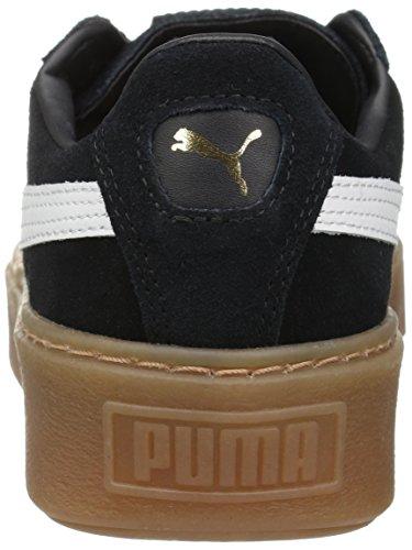 PUMA Damen Wildleder Plateau Core Fashion Sneaker Puma Schwarz-Puma Weiß