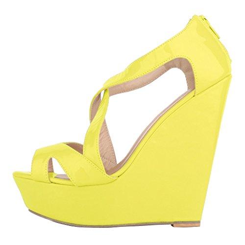 EKS - Zapatos de Tacón Mujer Helles Gelb-Lackleder