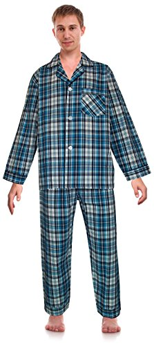Classical Cotton - Robes King RK Classical Sleepwear Mens Broadcloth Woven Pajama Set, Size X-Large, Pacific Blue, Plaid (0176)