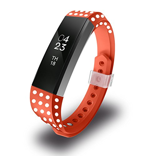 le Fitbit Alta Band Large, Replacement Bands for Fitbit Alta/Fitbit Alta Bands/Fitbit Ace Straps with Metal Clasp, Polk Dot(Dark Orange) ()