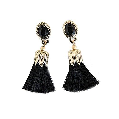 CAIYCAI Fashion Color Oval Thread Long Tassel Earrings Rhinestone Drop Fringe Earrings For Women Black onesize