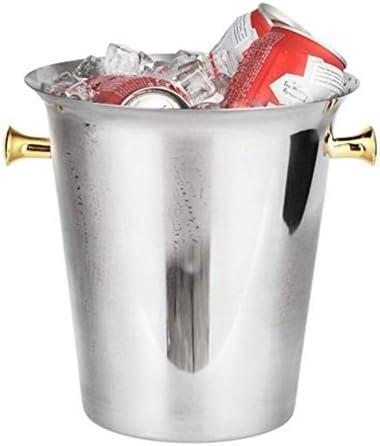 Cubos de Hielo, Acero Inoxidable Cubo de Hielo Bar Pub KTV Vino Cerveza Champagne Whisky Botella Enfriador Cubos de Hielo Cubo Contenedor con asa Lateral Redonda (Color: B, Tamaño: 5L)