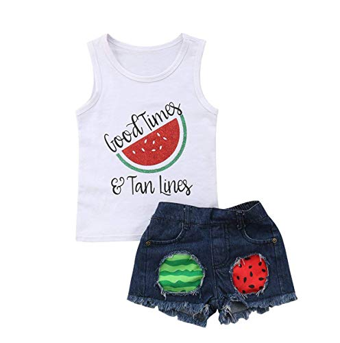 - 2Pcs Fashion Toddler Kids Baby Girl Denim Shorts Sets Sleeveless T-Shirt Top Ripped Denim Shorts Summer Outfits (White +Watermelon, 3-4 Years)