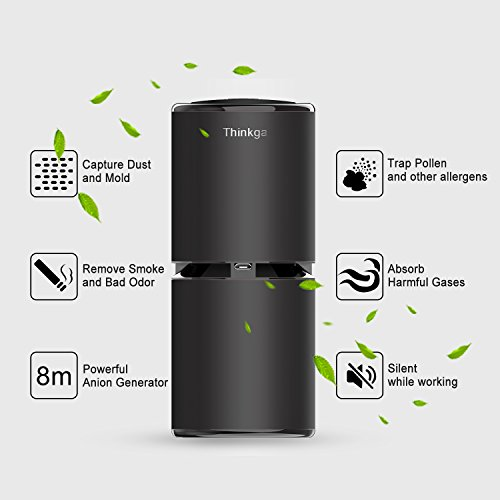 Thinkga Car Ionizer Air Purifier, Removes Dust, Cigarette Smoke, Bad Odors, Release Anion- Available for Automobile and Small Room (Gold)
