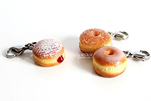 Cute Big Mini Donut Charm Bracelet Necklace Jewelry Bag Charms With Lobster Clasp Sugar Sprinkles Jelly Doughnuts Gifts ()