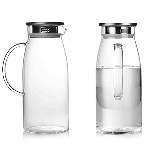 60 Ounces Glass Pitcher with Lid, Hot/Cold Water Jug, Juice and Iced Tea Beverage Carafe by Purefold (Image #6)
