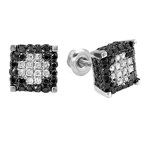 (Dazzlingrock Collection 0.85 Carat (ctw) Mens Ladies Unisex Black & White Diamond Ice Cube Stud Earrings, Sterling Silver )