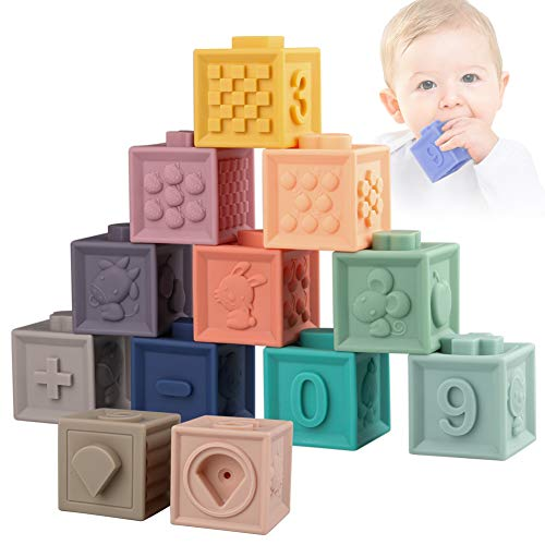 Sunarrive Soft Building Blocks for Toddlers Babies 6 9 12 Months 1 Year Old – Baby Teether Toys – Montessori Sensory…