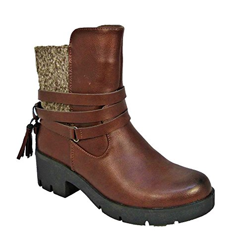 Aaishaz 786 Sexy Ladies Winter Low Chunky Heel Chelsea Ankle Tassel Boots CW17077 Party Shoe (UK 7, Brown)
