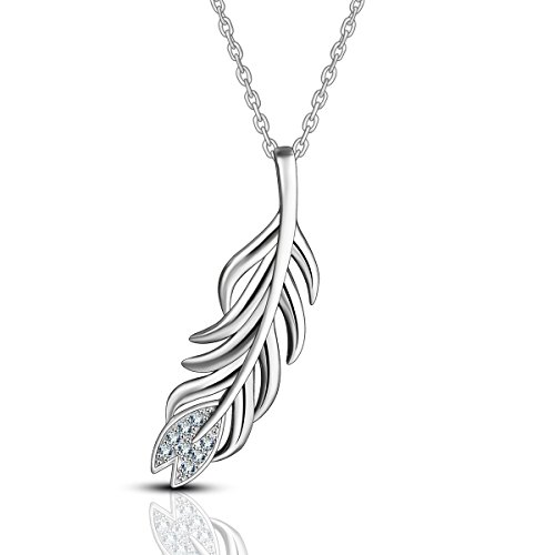 (AEONSLOVE 925 Sterling Silver Cupid's Feather Leaf of Life Pendant Necklace with Cubic Zirconia for Women, 18'' Chain, Gifts for Wifes/Girls)