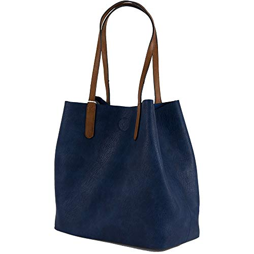 E Bag 3 A Tipo Spalla Tre Bosello Grande Capiente Color Blu Borsellino Borsa Shopping Donna Pezzi Con Tracolla Cuoio Emila Shopper wqU6vft