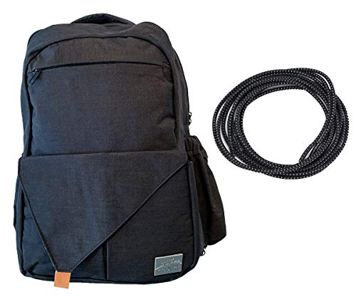 """Price comparison product image Ergonomic Business Bag - Multiple Pockets for Tech Gadgets and Valuables, Fits Up to 17"""" Laptop - Comes with Black Elastic Shoelaces (Black)"""