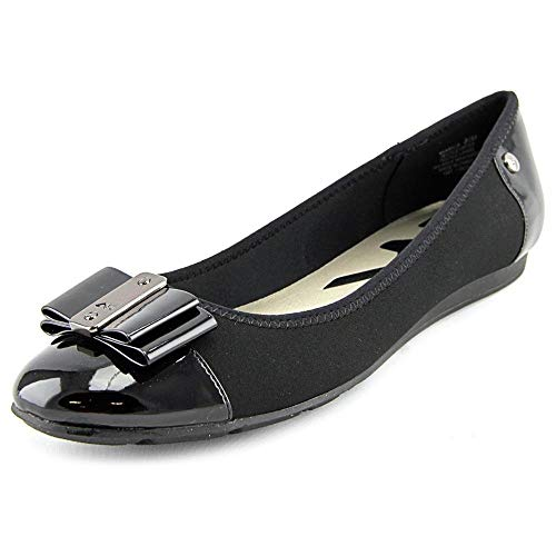Anne Klein Womens Aricia Closed Toe Slide Flats, Black, Size 5.0