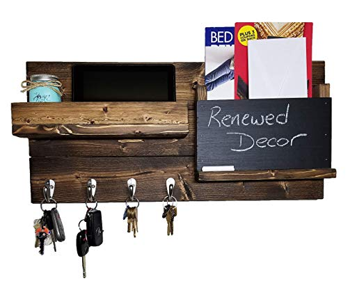 Chalkboard Front Farmhouse Rustic Wall Organizer Featuring Customizable Number of Key Hooks, Shelf, Mail Slot, Available in 20 Colors - Shown in Dark Walnut - Memo Board - Mail and Key Hooks