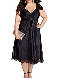 Babaseal Big Tang Womens V-Neck Lace Empire Waist Plus Size Swing Party Evening Dress (Color : Black, Size : XX-Large)