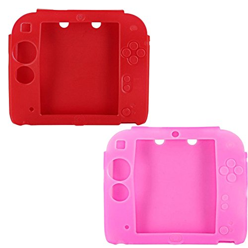 Protective Soft Silicone Rubber Gel Skin Case Cover for Nintendo 2DS (Red,Pink)