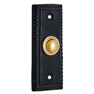 Adonai Hardware Rectangular Georgian Iron Bell Push or Door Bell or Push Button