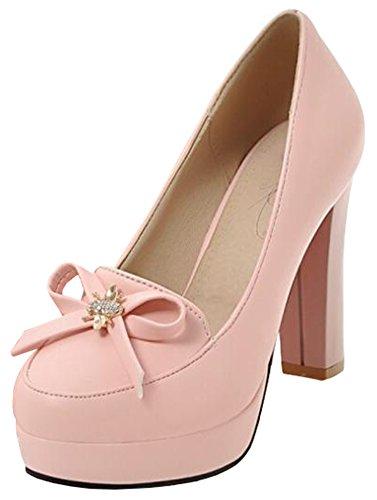 IDIFU Womens Sexy Bows High Block Heels Platform Pumps Low Top Slip On Club Shoes Pink