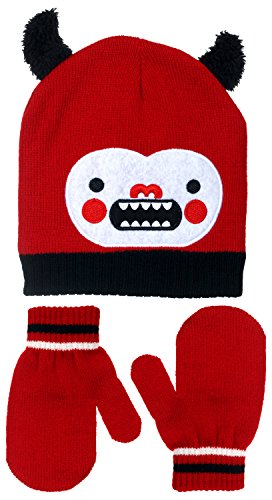 Polar Wear Infant Boy's LIL Monster Knit Beanie & Mittens Set (Red-Black)