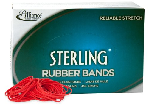 Alliance Sterling Rubber Band - Red - Size #19  - 1 Pound Bo