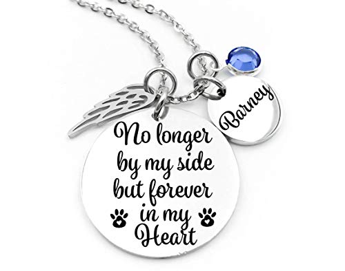 Pet Memorial Jewelry, No Longer By My Side, Memorial Jewelry, Forever In My Heart, Stainless Steel, Custom Made, Personalized