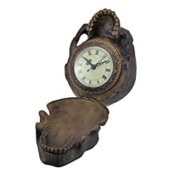 Zeckos Resin Statues The Time Keeper Hinged Skull Clock Statue 6 X 5.5 X 4.5 Inches Brown