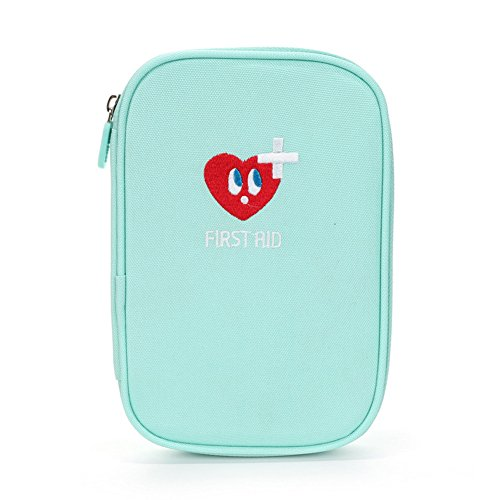 Lanticy First Aid Kit Portable Empty First Aid Pouch Mini Medicine Bag Oxford cloth Medical Survial Kit Pocket Handy Travel Pills Drugs Package Container Organizer for Home or Outdoor (Light blue) by Lanticy