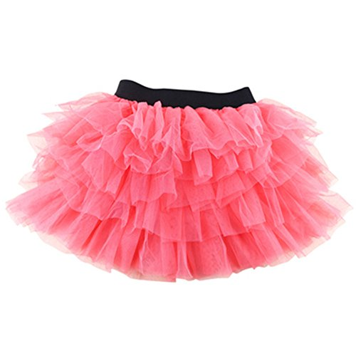 [Smile-YZ Girls Ballet Tutu Skirt Kids Layered Dancewear Gauze Mini Skirt Dancing Skating Prince Dress Costume] (Watermelon Toddler Costume)