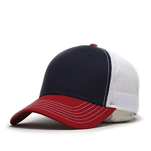 Vintage Year Plain Two Tone Cotton Twill Mesh Adjustable Trucker Baseball Cap (Red/Navy/White)