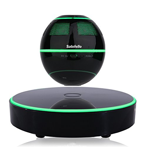 Levitating Bluetooth Speaker, Satefello Magnetic Floating Portable Wireless Speaker with Bluetooth 4.1,7-Colors LED Light Changing,360 Degree Rotation, Ideal Gift/Office Decor (Space Black) by Satefello