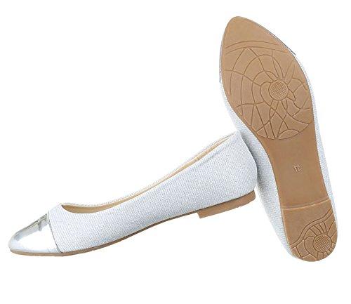 Damen Ballerinas Schuhe Flats Slipper Pumps Slip On Schwarz Blau Gold Rot Silber 36 37 38 39 40 41 Silber