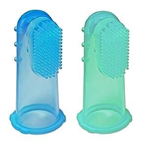 2 x Cepillo Dental de Dedo para Bebé de Silicona ~ Masajeador de Encías Niños (Azul & Verde) 6