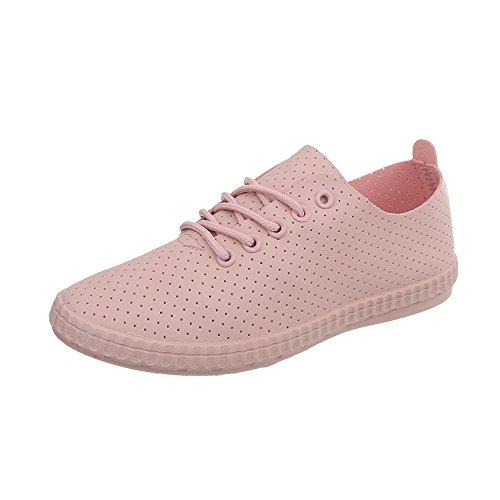 Bajas para Zapatillas Plano Ital Zapatos Design Mujer Zapatillas 1838 Rosa 5 qgOa0g