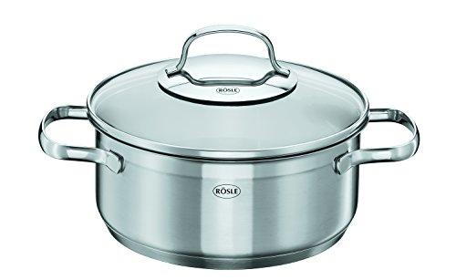 Rösle Elegance - Stainless Steel 14-Piece Cookware Set - 4 Stockpots, 2 Non-stick Pans, 1 Saucepan, 1 Milk pot, 1 Steamer and 5 Glass Lids