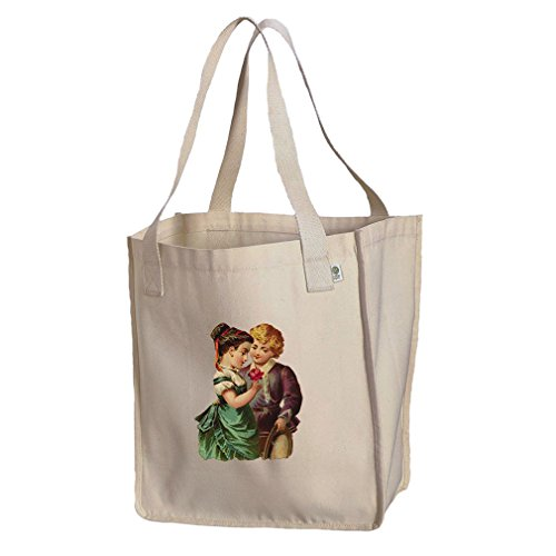 Market Tote Organic Canvas Couple Of Kid With Rose Valentines Day by Style in Print