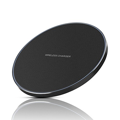tye Qi Wireless Charging Pad [Aluminum] for iPhone 8/8 Plus, iPhone X, Samsung Galaxy S8/S8 Plus,S7/S7 Edge, S6/S6 Edge, Note 8/Note 5 [Ultra Slim / LED Indicator], Black (Wireless Docking Station)