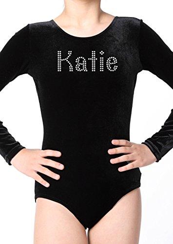 Girls 3-4 Years Black Varsany® Personalised Leotard Velvet Long Sleeve School Wear School Uniform Dance Ballet tights gymnastics leotards for girls